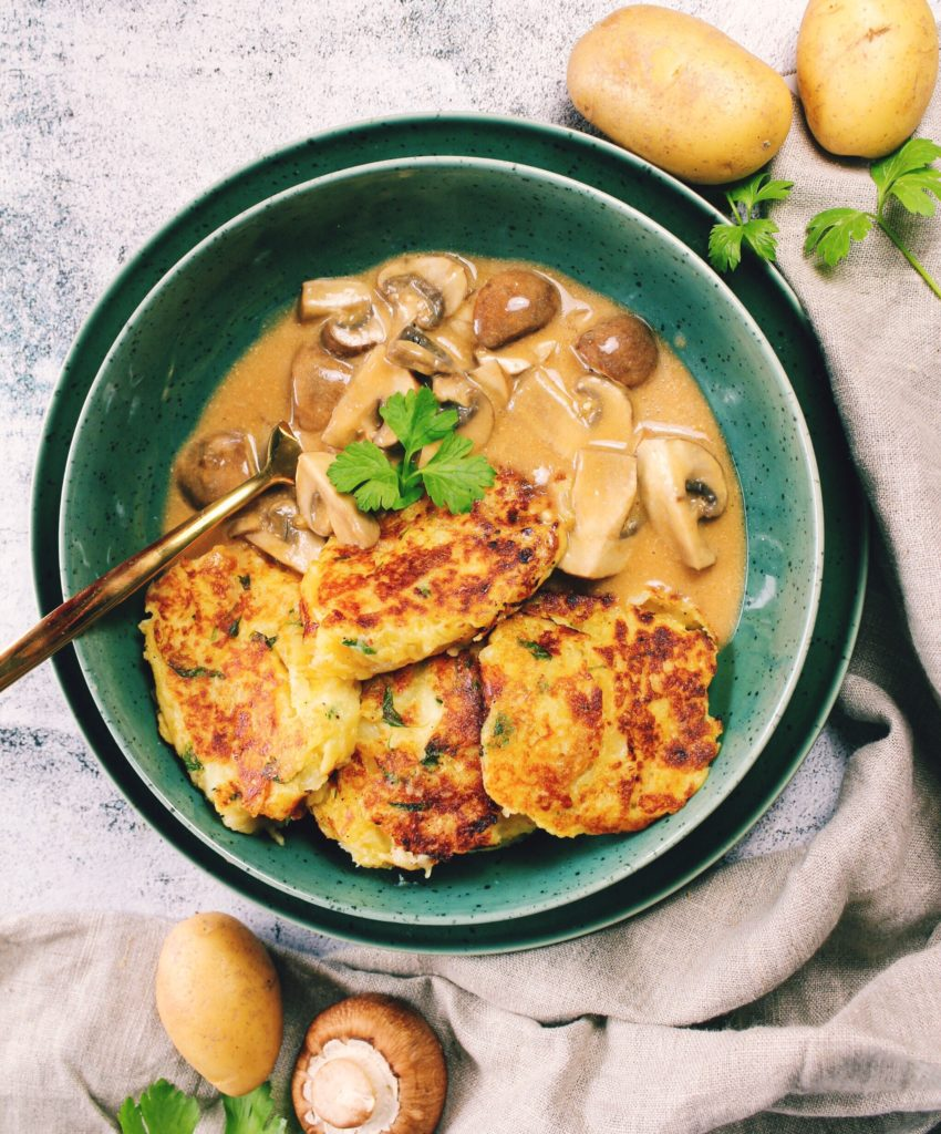 Kartoffelpuffer mit Pilzrahm Soße