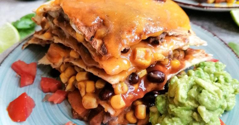 Vegetarische Quesadilla mit Kidneybohnen und Cheddar