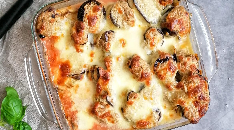 Auberginen Canneloni mit Champignon Ricotta Füllung