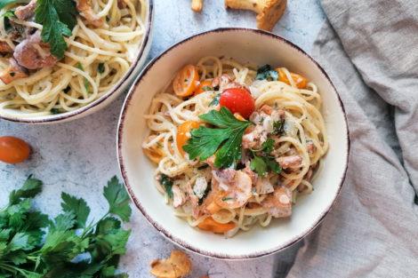 Spaghetti mit Pfifferlingen und Cocktailtomaten