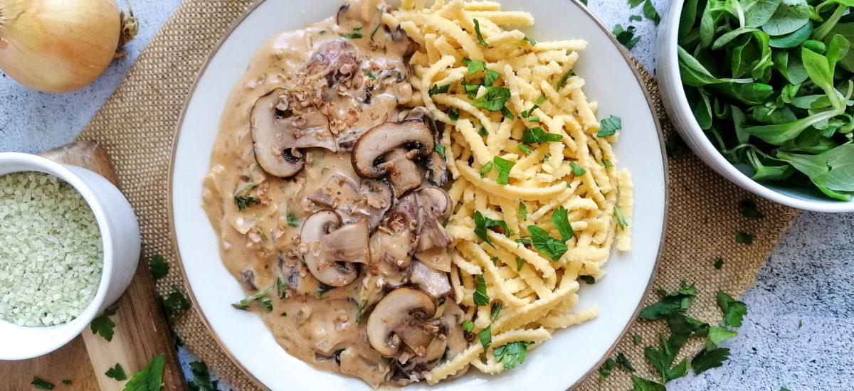Spätzle mit Pilzrahm-Soße