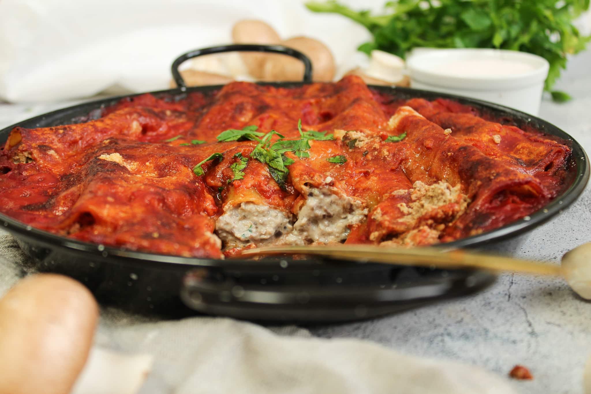 Cannelloni mit Champignon Ricotta Füllung