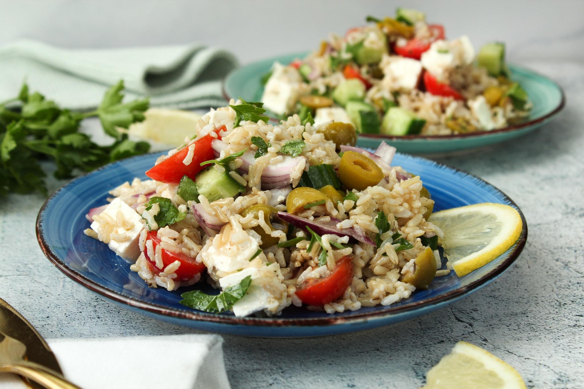 vegetarischer griechischer Reissalat