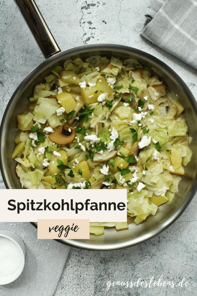 vegetarische Spitzkohlpfanne mit Pilzen