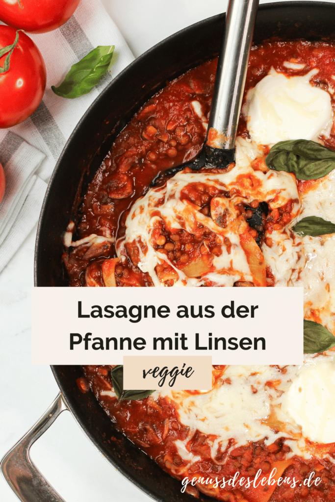 Vegetarische Lasagne aus der Pfanne mit Linsen