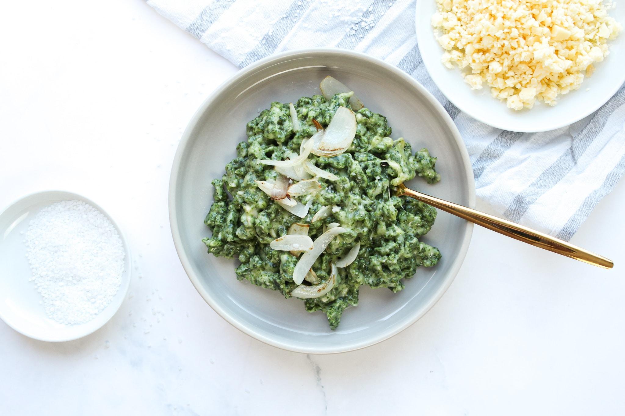 Spinat Spätzle mit Dinkelmehl